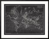 Ocean Current Map - Global Shipping Chart Reproduction giclée encadrée par The Vintage Collection