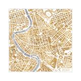 Gilded Rome Map Tableau sur toile par Laura Marshall