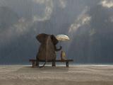 Elephant And Dog Sit Under The Rain Tableau sur toile par Mike_Kiev