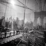 Brooklyn Bridge Triple Tableau sur toile par Evan Morris Cohen