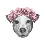 Original Drawing of Jack Russell with Floral Head Wreath. Isolated on White Background. Tableau sur toile par Victoria_novak