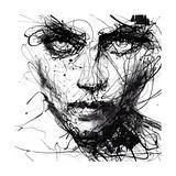 In Trouble, She Will - Malgré les ennuis, elle. (Art graphique noir et blanc, Résilience, Volonté) Tableau sur toile par Agnes Cecile