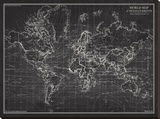 Ocean Current Map - Global Shipping Chart Tableau sur toile par The Vintage Collection