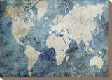 World Map Blue Tableau sur toile par Jane Fox