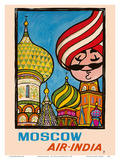 Moscow  Russia - Air India - Saint Basil's Cathedral - Air India's Mascot Maharajah