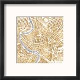 Gilded Rome Map Reproduction encadrée par Laura Marshall