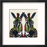 Zebra Love Ivory Reproduction encadrée par Sharon Turner