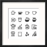 Coffee Icons Reproduction encadrée par Pking4th