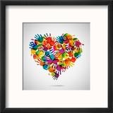 Colored Heart From Hand Print Icons Reproduction encadrée par Strejman