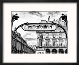 Art Deco Metropolitain Sign, Metro, Subway, the Louvre Station, Paris, France, Europe Reproduction encadrée par Philippe Hugonnard