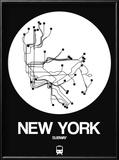 New York White Subway Map Reproduction encadrée par NaxArt