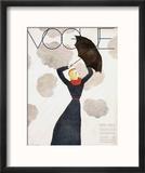 Vogue Cover - February 1933 - Umbrella Weather Reproduction encadrée par Georges Lepape