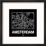 Black Map of Amsterdam Reproduction encadrée par NaxArt