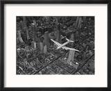 Aerial View of a Dc-4 Passenger Plane in Flight over Manhattan Reproduction encadrée par Margaret Bourke-White