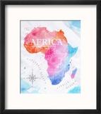 Watercolor Map Africa Pink Blue Reproduction encadrée par Anna42f