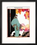 Vogue Cover - October 1922 - Dressed to Teal Reproduction encadrée par Helen Dryden