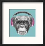 Portrait of Monkey with Headphones. Hand Drawn Illustration. Reproduction encadrée par Victoria_novak