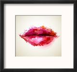 Beautiful Woman's Lips Formed By Abstract Blots Reproduction encadrée par Artant