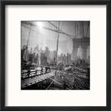 Brooklyn Bridge Triple Reproduction encadrée par Evan Morris Cohen