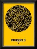 Brussels Street Map Yellow Reproduction encadrée par NaxArt