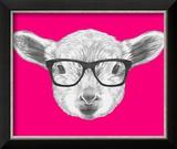 Portrait of Lamb with Glasses. Hand Drawn Illustration. Reproduction encadrée par Victoria_novak