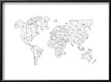World Wire Map 5 Reproduction encadrée par NaxArt
