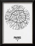 Paris Street Map White Reproduction encadrée par NaxArt