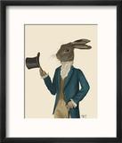 Hare in Turquoise Coat Reproduction encadrée par Fab Funky