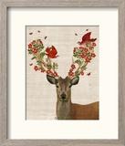 Deer and Love Birds Reproduction encadrée par Fab Funky