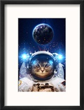 Beautiful Cat in Outer Space. Elements of this Image Furnished Reproduction encadrée par Vadimsadovski