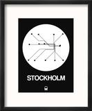Stockholm White Subway Map Reproduction encadrée par NaxArt
