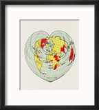 Map of the World Distorted into the Shape of a Heart Reproduction encadrée