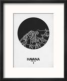 Havana Street Map Black on White Reproduction encadrée par NaxArt