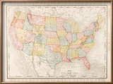 Antique Vintage Color Map United States of America, USA Reproduction encadrée par Qingwa