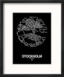 Stockholm Street Map Black Reproduction encadrée par NaxArt