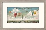 Vol en ballon au dessus de Paris Reproduction encadrée par Isiah And Benjamin Lane