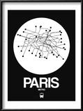 Paris White Subway Map Reproduction encadrée par NaxArt