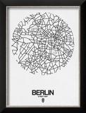 Berlin Street Map White Reproduction encadrée par NaxArt