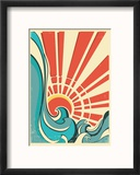 Sea WavesVintage Illustration Of Nature Poster With Yellow Sun On Old Paper Texture