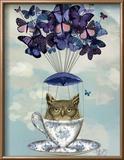 Owl in Teacup Reproduction encadrée par Fab Funky