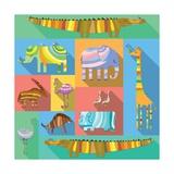 Flat Icons with African Animals Reproduction d'art par Evgeniya Balala