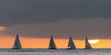 Sailboats in the Ocean at Sunset  Waikiki  Honolulu  Oahu  Hawaii  USA