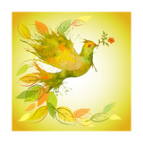 Green Dove with Flower Branch and Autumn Leaves