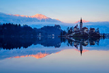 Slovenia  Bled  Lake Bled and Julian Alps  Church of the Assumption