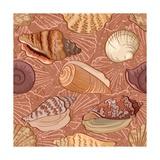Seamless, Seashells Reproduction d'art par Alexcoolok