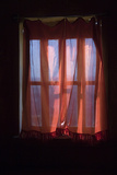 Sunlight Shines Through a Window  Diffused by a Red Curtain