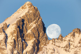 The Full Moon Set Behind Grand Teton on a Glorious Winter Morning
