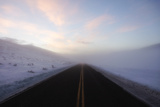 A Bare Roadway Stretches Out into the Misty Frost