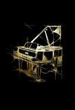 Gold Foil Piano on Black Reproduction d'art par Ethan Harper