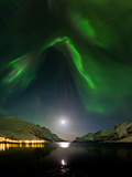 Aurora Borealis Above a Fjord on a Moonlit Night in Norway